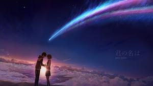 Mitsuha Miyamizu Taki Tachibana Kimi No Na Wa Comet Sky Cloud Scenic 3840x2160 Wallpaper