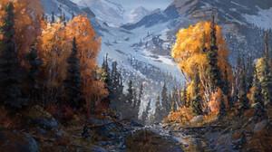 Calder Moore Landscape Digital Painting Digital Art Trees Mountains Tree Trunk Snow Covered Tree Bar 3016x1648 Wallpaper
