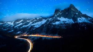 Winter Mountain Snow Snowfall Night Light 1920x1200 Wallpaper