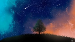 Night Shooting Star Stars Tree 3840x2716 Wallpaper