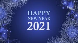 Blue Happy New Year 7536x4081 Wallpaper