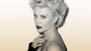 Women Hand On Neck Looking At Viewer Blonde Dark Lipstick Celebrity White Background Actress Black N 1920x1280 Wallpaper