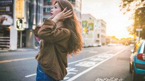 Urban City Women Street Asia Asian Model Long Hair Women Outdoors Standing Painted Nails Makeup 2047x1365 Wallpaper