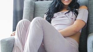 Women Dark Hair Long Hair Latinas Women Indoors Brazilian Women Feet Smiling 1066x1600 Wallpaper