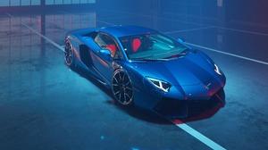 Blue Car Lamborghini Lamborghini Aventador 2844x1734 Wallpaper