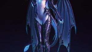 Fanfoxy Drawing Women Horns Wings Claws Tail Blue Fantasy Art Dark 1152x1440 Wallpaper