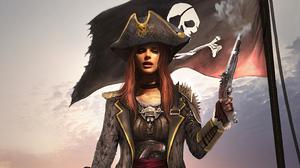 Girl Gun Hat Pirate Woman Warrior 3840x2160 Wallpaper