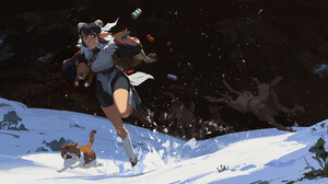 Kan Liu Snow Can Cats Forest Creature Robot Cybernetics Eastern Mech Wolf Fantasy Girl 1959x1024 Wallpaper