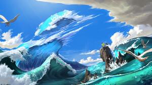 HUHSOO Digital Art Fantasy Art Sword Waves Sea Birds Clouds Seagulls 1920x1080 Wallpaper