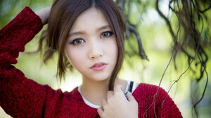 Sweater Red Sweater Asian Women Looking At Viewer Contact Lenses Big Eye Contact Lenses Blurred Touc 2048x1361 wallpaper
