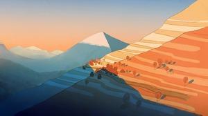 Illustration Mountains Sunset Drawing 6400x3308 Wallpaper
