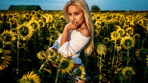 Women Blonde Model Outdoors Portrait Looking At Viewer Bare Shoulders White Tops Sunflowers Yellow F 1500x1000 wallpaper