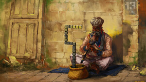 Artwork Men Fakir Humor Musical Instrument Music Drawing Sitting 1920x1080 Wallpaper