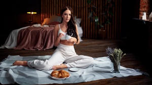 Women Model Food Sweets Croissants Cup Long Hair Barefoot Looking At Viewer Brunette Women Indoors 2000x1125 Wallpaper