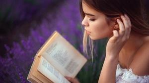 Book Face Girl Hand Lavender Mood Profile 2560x1709 Wallpaper
