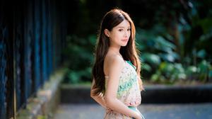 Asian Brunette Depth Of Field Girl Long Hair Model Woman 3840x2561 Wallpaper