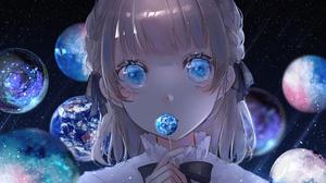 Anime Anime Girls Blonde Short Hair Shoulder Length Hair Universe Space Stars Planet Candy Blue Eyes 2388x1668 Wallpaper