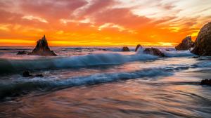 Rock Wave Sunset 2048x1351 Wallpaper