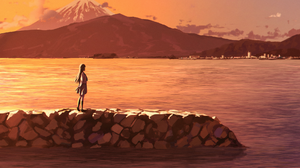 Dia Kurosawa Girl Lake Mountain School Uniform Town Volcano 1920x1358 Wallpaper