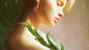 Tian Zi Artwork Women Face Profile ArtStation Blonde Painting 1920x2378 Wallpaper