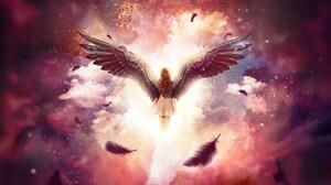 Angel Cloud Wings Woman 2560x1440 wallpaper