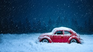 Car Red Car Snow Toy Volkswagen Winter 5849x3845 wallpaper