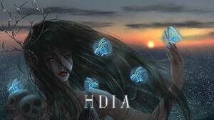 Digital Art Fantasy Girl Butterfly Sunset HDiArt 1786x1000 Wallpaper