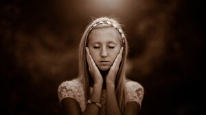 Women Sepia Blonde Closed Eyes Hairband Hand On Face White Tops 1680x1050 Wallpaper