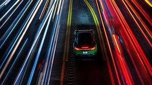 Photography Car Light Trails Porsche Lights Rear View Road Night Lines Long Exposure Green Cars Pors 7680x4800 Wallpaper