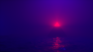 Pyramid Water Abstract Blender Blue Purple Red Neon Geometry Light Effects 2560x1440 Wallpaper