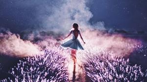 Night Smoke Dance Dress Silhouette Lavender Woman Model 2560x1946 Wallpaper