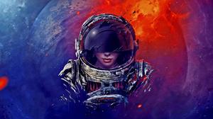 Artistic Astronaut Planet Woman 2560x1440 Wallpaper