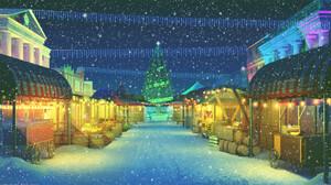 Bogdan MB0sco Digital Art Christmas Snow Snowing Market 1920x1080 Wallpaper