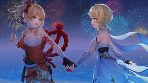 Anime Anime Girls Nalukikiki Artwork Genshin Impact Lumine Genshin Impact Yoimiya Genshin Impact Blo 4724x2657 Wallpaper