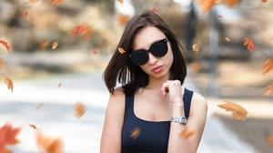 Woman Girl Brunette Sunglasses Depth Of Field Leaf 2000x1125 Wallpaper