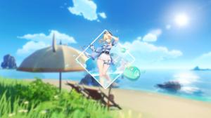 Anime Genshin Impact Jean Genshin Impact Sea Beach Simple Anime Girls Picture In Picture 2560x1440 Wallpaper