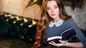 Maria Zhgenti Women Long Hair Dress Blue Eyes OTK Socks Reading Lipstick 2000x1333 Wallpaper