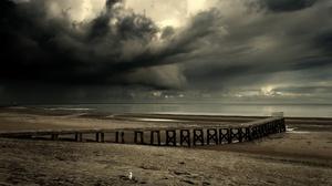 Nature Coast Beach Dark Outdoors Sky Clouds Pier 2560x1440 Wallpaper