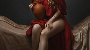 Eric Burkhanaev Women Brunette Curly Hair Flower In Hair Dress Red Clothing Studio Model Sandals 1075x1659 Wallpaper