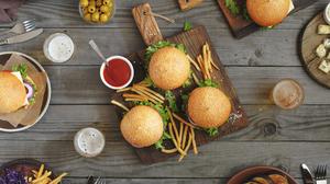 Burger French Fries Still Life 5432x3609 wallpaper