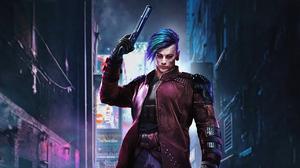 Man Futuristic Gun Blue Hair Cyberpunk 3840x2160 Wallpaper