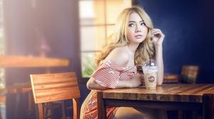 Asian Model Women Long Hair Blonde Table Chair Sitting Coffee Bare Shoulders Depth Of Field 5760x3443 Wallpaper