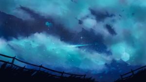 Clouds Night Sky Night Stars Grass Fence Hexagon 3840x2160 Wallpaper