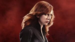 Scarlett Johansson Actress Red Background Redhead The Avengers Women Black Widow 3440x1440 Wallpaper