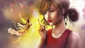 Earrings Fairy Flying Girl Lipstick Wings Woman 2600x1516 wallpaper
