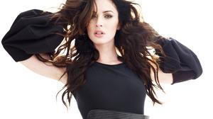 Megan Fox Women Hands On Head Black Dress Model Celebrity Blue Eyes Pink Lipstick 5600x4200 Wallpaper