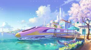 Jun Zhang Fantasy Art Digital Art Asian Architecture Landscape Train Canoe Water Lighthouse Pink Fan 1800x858 Wallpaper
