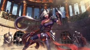 Blue Eyes Dagger Girl Grey Hair Knight Long Hair Shield Woman Warrior 4000x2360 Wallpaper