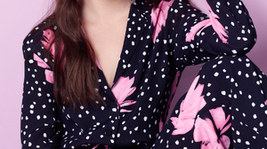 Anya Taylor Joy Women Actress Brunette Studio Simple Background Pink Background Long Hair 1174x1584 Wallpaper