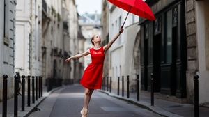 Urban Red Dress Women Outdoors Ballerina Umbrella Women Women With Umbrella 2048x1365 Wallpaper